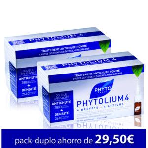 Pack-DuploTratamiento anticaída PHYTOLIUM 4 (24 ampollas)